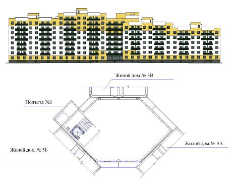 Объемно-планировочное решение объекта Владимирская-3