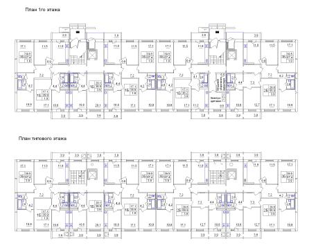 Планы первого и типового этажей жилого дома Владимирская-4